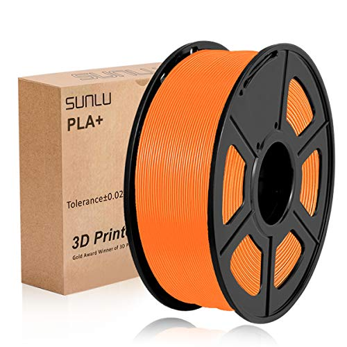 Filamento per stampante 3D SUNLU PLA Plus 1,75 mm Bobina da 1 kg, filamento PLA+ arancione 1,75 + - 0,02 mm per la stampa 3D