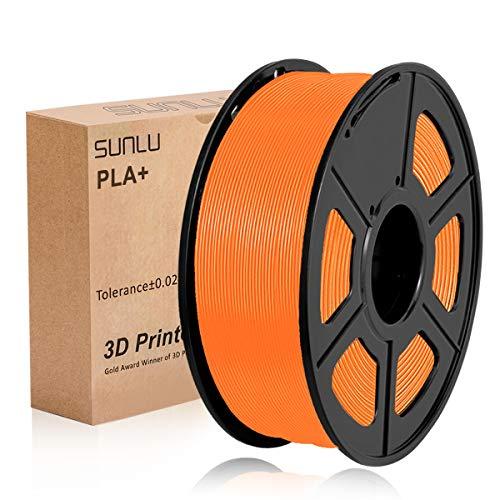 SUNLU PLA Plus arancio, filamento PLA Plus 1,75 mm, Precisione dimensionale con odore basso +/- 0,02 mm, Filamento per stampa 3D, bobina 2,2 LBS (1 KG) per stampanti 3D e penne 3D, arancione