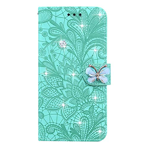 LIUYAWEI Flip Book Butterfly Leather Cover for Samsung Galaxy S20 Ultra Note 20 S10 S8 A7 M31 A21S A51 A71 A70 A50 A40 A20 A10 Phone Case,Green,Galaxy A40