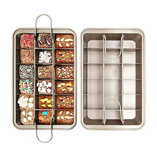 Brownie Pan with Dividers,FDA Approved 18 Pre-slice Non Stick Coated Brownie Baking Tray,Carbon Steel Bakeware for Oven Baking,Size 12 x 8 x 2 inches