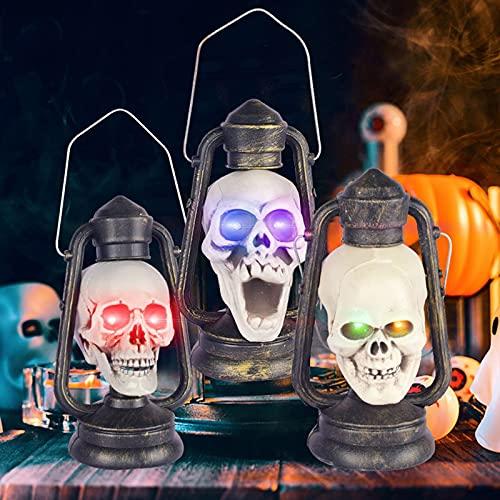 HAO KD Decoración de Halloween Calabaza Linterna Skull Street Street Light Luminoso Resina Cuervo Bar Dress Up Props Atmósfera Luz Adornos Divertidos Regalos Partido Carnaval Pascua, Cráneo