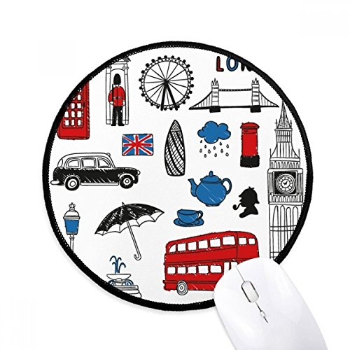 DIYthinker Londen grote Ben Booth regen brievenbus ronde anti-slip Mousepads zwart Titched Edges Game Office Gift