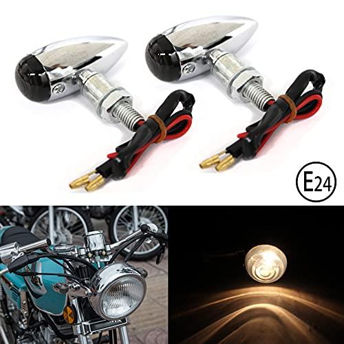 2x JMTBNO Motorrad Mini Blinker Licht Halogen Bullet Bates Chrom für Cruiser Chopper Custom Cafe Racer Roller Quad Fahrrad E-geprüft