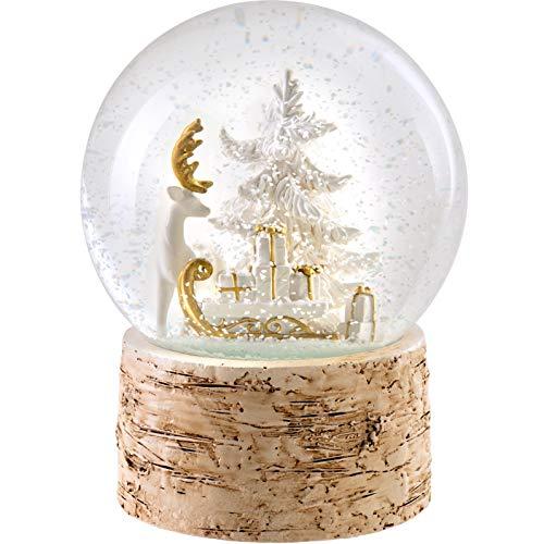 WeRChristmas Rendier & Slee Muzikale Sneeuwbol Kerst Decoratie, Meerkleurig, 15cm
