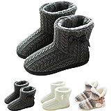 GURGER Botas de Estar por Casa Mujer Zapatillas Casa Altas Invierno Botas Pantuflas de Casa Calentitas Botines Gris 37 38