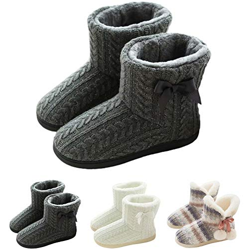 GURGER Botas de Estar por Casa Mujer Zapatillas Casa Altas Invierno Botas Pantuflas de Casa Calentitas Botines Gris 39 40