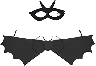 Mochiglory Kid Bat Costume, Black Set Dress Up Accessories for Halloween Party Trick Or Treat for Kids