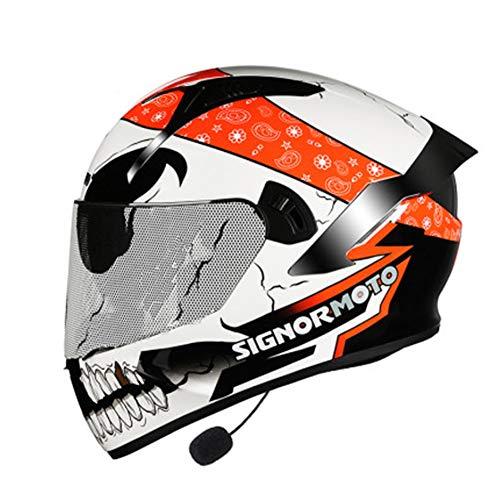 DAWANG Casco de la Motocicleta, Aprobado por el Dot para Adultos de la Cara Llena de Bluetooth Motocross Casco, para ATV Bici de la Suciedad de la Calle Off-Road Ride, Panda,M
