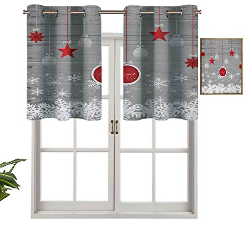 Hiiiman Indoor Home Valance Curtain Panel Traditional Celebration Theme with Pendant Stars Baubles Ornate Snowflakes, Set of 1, 54'x18' for Bathroom and Cafe