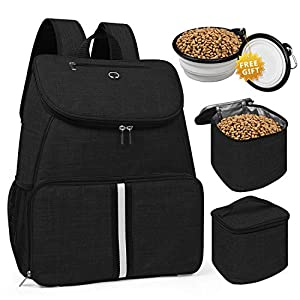 BAGLHER 丨Dog Travel Bag,Airline Approved Pet Supplies Backpack,Dog Travel Backpack with 2 Silicone Collapsible Bowls and 2 Food Baskets.