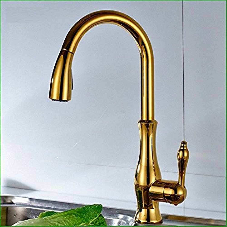 Wasserhahn Küche Waschbecken Badezimmer Pull-Down-Spültischarmatur Messing Konstruiert Poliert Alle Kupfer und Gold Einlochmontage Heie und Kalte Wasserhhne Ziehbar Drehbarer Spültischarmatur