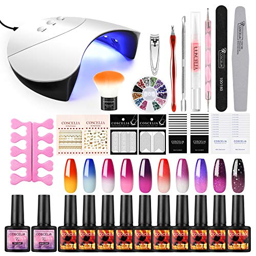 Saint-Acior UV Nagellack Starterset UV Gel Farben Set 10pc Thermolacken 36W UV+LED Nagellampe Nail Set