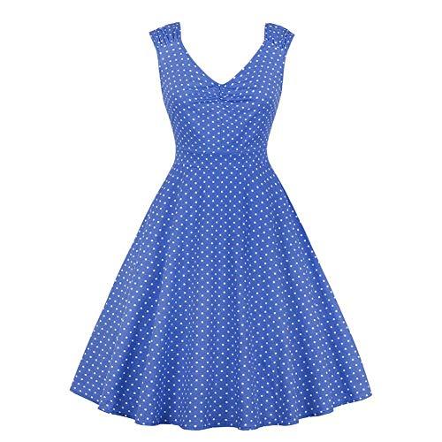 GLOGLOW vrouwen zomer mouwloze jurk, V-hals print-jurk petticoat swing partyjurk avondjurk