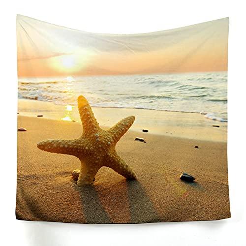 Aeici Tapiz Tela 3D 100×75cm, Tapestries Wall Tapiz De Sunset Starfish Beach para Colgar en la Pared