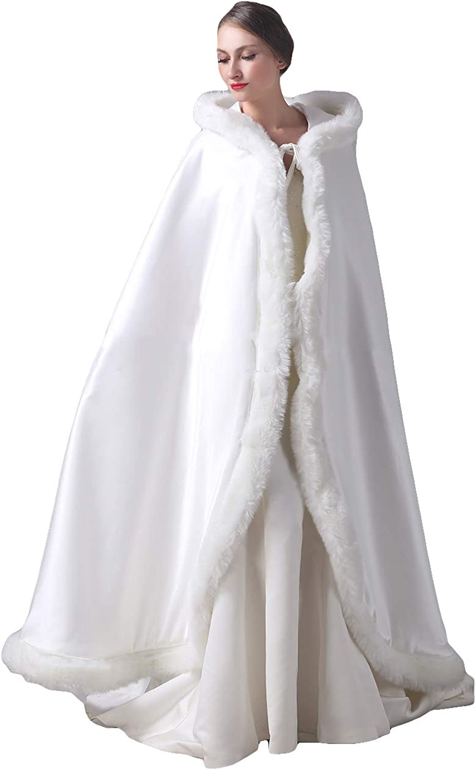 Fenghuavip White Wedding Cloak Robes Satin Faux Far Winter Gifts Shawl Capes Long