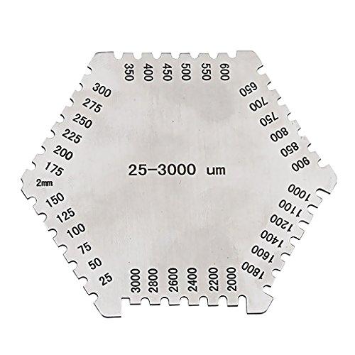 Edelstahl Hexagon Hochpräzise Nassfilm Dickenmessgerät Gage 25~3000um