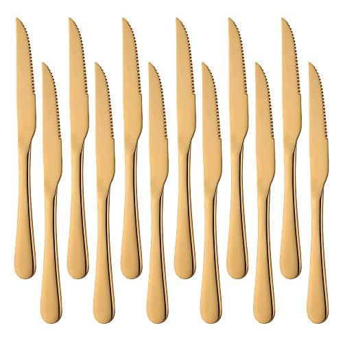 Meisha - Juego de 12 cuchillos para carne (acero inoxidable, 20 cm), color dorado mate