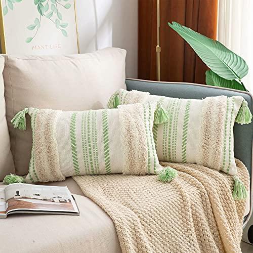 decorUhome Juego de 2 fundas de cojín bohemio para sofá, decorativas, suaves fundas de cojín, para sofá, salón, dormitorio, beige y verde, 30 x 50 cm