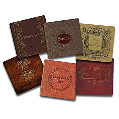 Jane Austen Books Coaster Set- 6 Piece Fabric Top Coaster Set - Rubber Back