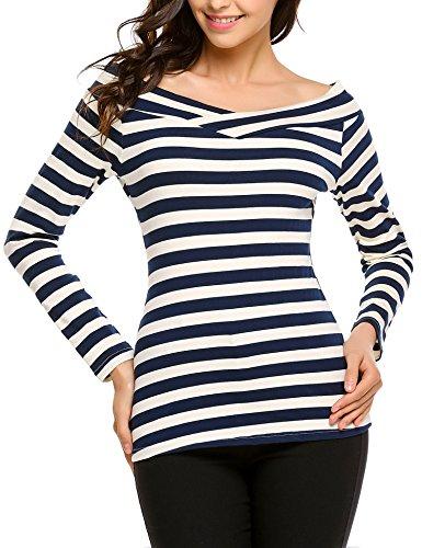 Zeagoo Damen Shirt Streifen Schulterfrei Langarmshirt Off Shoulder Oberteil T-Shirt Gestreiftes Tops