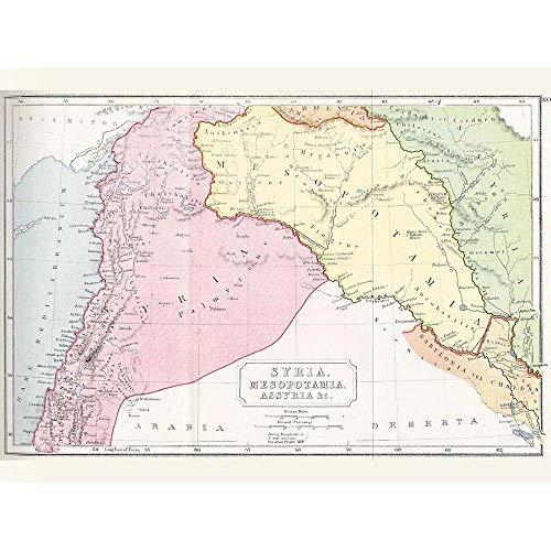 Wee Blue Coo Map Syria Mesopotamia Assyria Vintage Art Print Poster Wall Decor 12X16 Inch