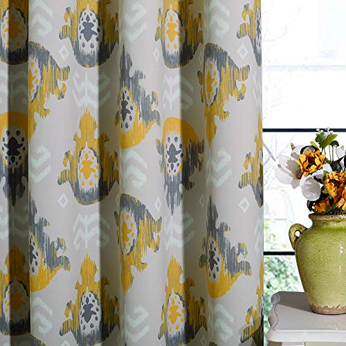 KGORGE Floral Curtains for Bedroom - Blackout Medallion Boho Curtains Damask Print Grommet Window Decor for Living Room RV, Yellow Grey, W 52 x L 63, 2 Panels