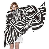 AUUXVA XLING - Bufanda de seda, diseño de cebra africana, larga y ligera, para hombre y mujer