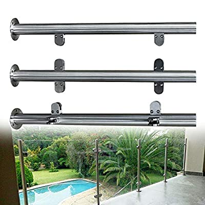 TFCFL 90CM High Glass Balustrade Railing Post Glazing Stainless Steel Pole Handrail Garden Fencing Silver (90cmMid Post)