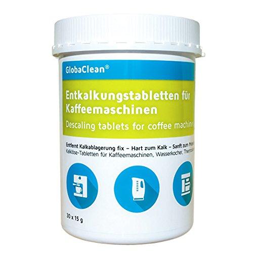 GlobaClean® Entkalkungstabletten für Kaffeevollautomat, Kaffeemaschine, Wasserkocher 30 Entkalker-Tabs kompatibel mit Siemens Jura Bosch Tassimo Miele uvm.
