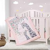 Honkaii Giraffe 3-Piece Crib Bedding Set, Baby Nursery Bedding Sets Including Crib Quilt, Crib Skirt, Crib Sheet, Pink Crib Sets for Girls