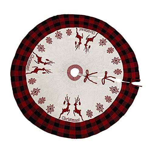 EURYTKS Falda del árbol de Navidad, diseño de la Cubierta de la Base del árbol de Navidad, Adorno del Piso para la Fiesta en casa, Rejilla, diámetro de la Falda del árbol 122CM