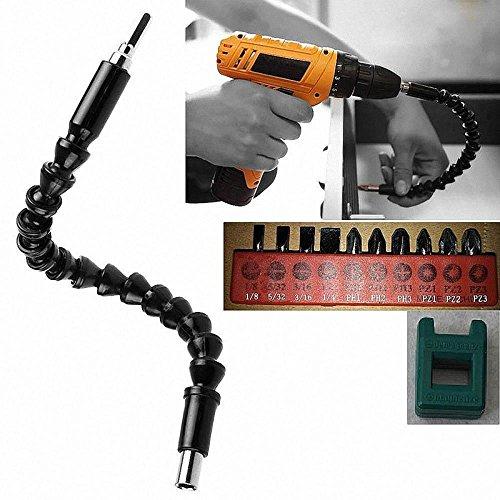 Zhuotop 30cm 11.81'flexible taladro eje llave de vaso puntas extensión extensor enlace serpiente