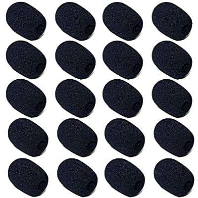 20 PCS Mini Microphone Windscreen Foam, Microphone Small Foam Covers, Windscreen Sponge Foam for Classroom, Conference Room, News Interviews, Stage Performance (Black)