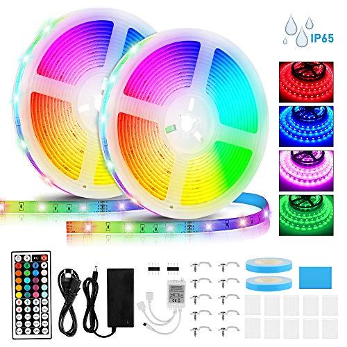 LED Strip 10M, RGB 5050 SMD 300 LED Stripes mit IR Kontroller IP65 Wasserdichte LED Streifen Fernbedienung 44 Tasten, Ein-Tasten-Dimmen für Weihnachten Feiertage Heim Küche Auto Dekoration