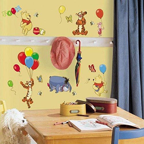 Hochwertiger Wandtattoo Tattoo Wand Tattoo - kompatibel mit Winnie the Pooh - Tigger - I-Ah - Esel - Luftballons - künstlerisch mit außergewöhnlichem Design macht die Wand zu einen echten Blickfang