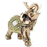 Sutinna L/M/S Feng Shui Elefante Verde Tronco Estatua Suerte Riqueza estatuilla decoración(Green Tuba)