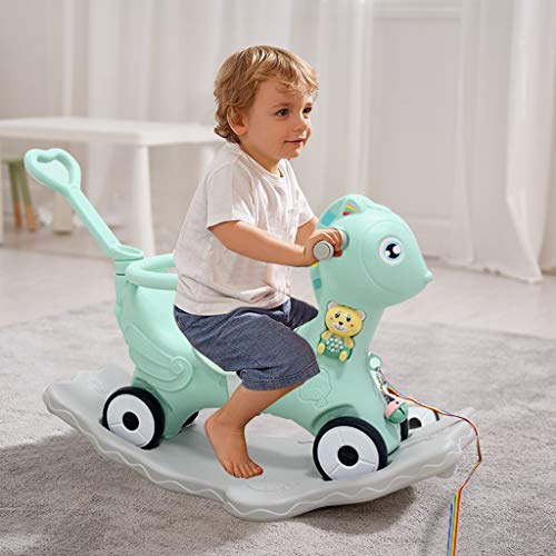 Awssya 2-in-1 Children's Rocking Horse, Tumbler, Multifunction Plastic Animal Rocking Chair, Ride On Push Car Toys, Gift for Toddler Baby Boys Girls 1-6 Years Old, Boys Girls Horse Riding Toy