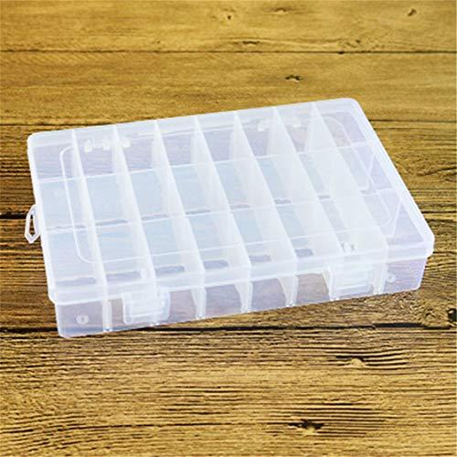 24 grilles en plastique transparent organisateur boîte conteneur de stockage boîte à bijoux avec diviseurs réglables pour perles artisanat bijoux de pêche