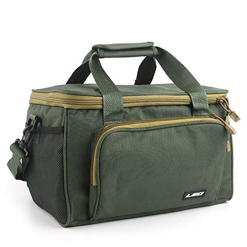 Waterproof Fishing Tackle Bag Portable Lures Kit Carrier Bag Slide Waist Canvas Packs Shoulder Bag Outdoor Multifunctional Large Capacity Storage Bag for Fishing Hunting Hiking (Green)