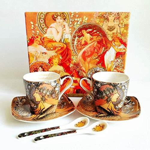 Alfons Mucha'Zodiac' - Juego de tazas de café (6 piezas, porcelana, con caja de regalo)