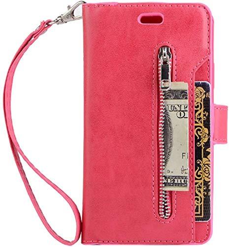 Jennyfly - Custodia a portafoglio per iPhone 7 da donna, in pelle sintetica, con cinturino da polso, tasca per carte di credito e carte di credito con funzione di supporto per iPhone, Rose Pink, 2019 iPhone 11/XI Pro (5.8 inch)