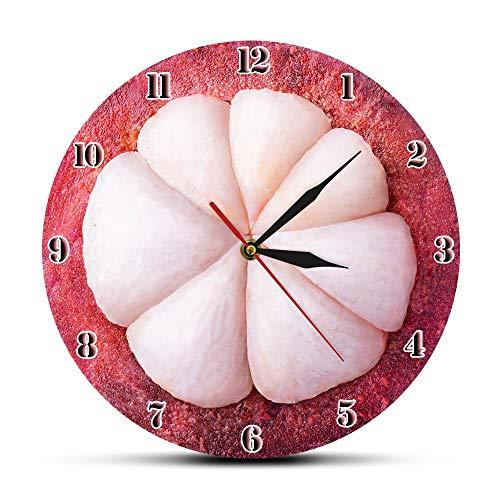 NIGU Día del miembro regalos para las mujeres Mangostán estilizado exótico rebanada de fruta reloj de pared moderno reloj de pared decoración del