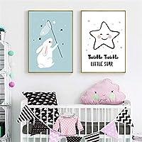 キャンバスポスター雨が降る星白いウサギかわいい漫画装飾的な子供寝室のポスター壁アート家の写真壁の装飾2個40x60cmフレームなし