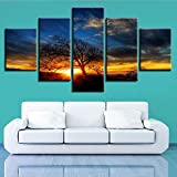 Rudxa Modern Wall Art Canvas Painting Tree Landscape Large Poster Set Prints Wall Picture for Living Room Bedside Decor-5 Piezas sin Marco