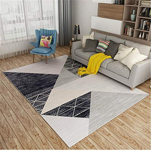 Alfombra pequeña Dormitorio Gris Alfombra de salón de Estilo Moderno Triángulo difuso Alfombra de patrón Gris Antiácaros alfombras Lavables 140X200CM Alfombra Oficina 4ft 7.1''X6ft 6.7''