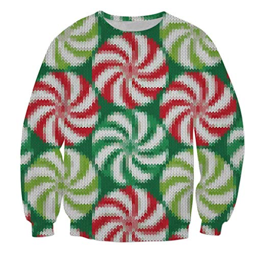 Pull de Noël Pullover, Funny Sweatshirts pour Hommes Femmes Unisexe Ugly Pull 3D Imprimé Xmas Graphique Pull Santa S-5XL t Shirt Homme Imprimé 3D Noël Col Rond Sport de Combat