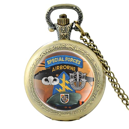 Special Forces - Reloj de bolsillo de cuarzo vintage con diseño de cúpula de cristal para hombre y mujer