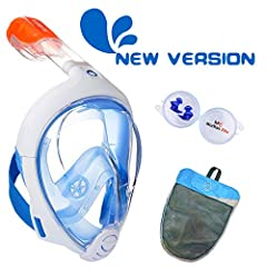 DESIGNED By INNOVATOR - It is designed by Decathlon, the inventor of easy-breath full-face snorkel mask. 180° FULL FACE VIEW - Panoramic field of vision, 180° effect. Largest viewing area of any snorkel on the market. EASY BREATHING - Full mask for n...