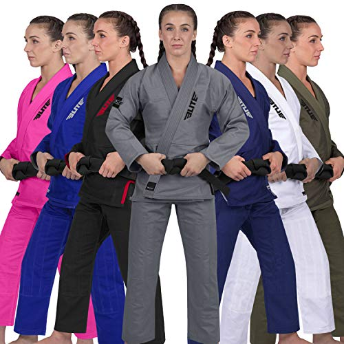 Elite Sports Ultra-Light Women's BJJ GI - IBJJF Jiu-Jitsu GI for Girls and Women (See Special Sizing Guide) (Gray, F2)