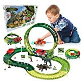 Dinosaur Toys with 2 Electric Cars, 139 PCS Dinosaur Tracks Race Toy for Kids Boys & Girls, Flexible Track 360° Stunt Loop Playset Build an Adventure Race Car, Best Gifts for 3 4 5 6 7 8 Year & Up Old